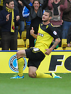 Picture by David Horn/Focus Images Ltd +44 7545 970036<br /> 14/09/2013<br /> Daniel Pudil of Watford celebrates scoring the equalising goal during the Sky Bet Championship match at Vicarage Road, Watford.