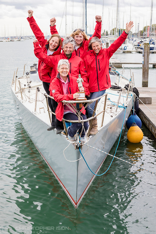 Tracy Edwards MBE [front and centre] with Beefeater trophy and other crew members [from left to right], Angela Health, Jo Gooding ,Tanja Visser and Sarah Davies, on board Maiden, the boat that made history 27 years ago.<br /> <br /> Tracy Edwards MBE and crew reunited with Maiden 27 years after sailing into the history books. Maiden and her all-female crew competed in the Whitbread Round The World Race in 1989/90 winning two legs and coming second overall. Over the next 12 months, Maiden will be restored in Hamble near Southampton. She will then sail around the world as an ambassador for the Maiden Factor, to promote access to education for girls.<br /> Picture date: Monday April 24, 2017.<br /> Photograph by Christopher Ison &copy; Empics<br /> 07544044177<br /> chris@christopherison.com<br /> www.christopherison.com