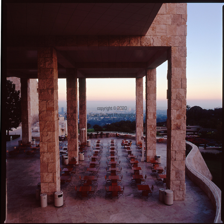 The Getty Center in Brentwood, Los Angeles, is well known for its architecture, gardens, view and museum.  It was designed by architect Richard Meier.