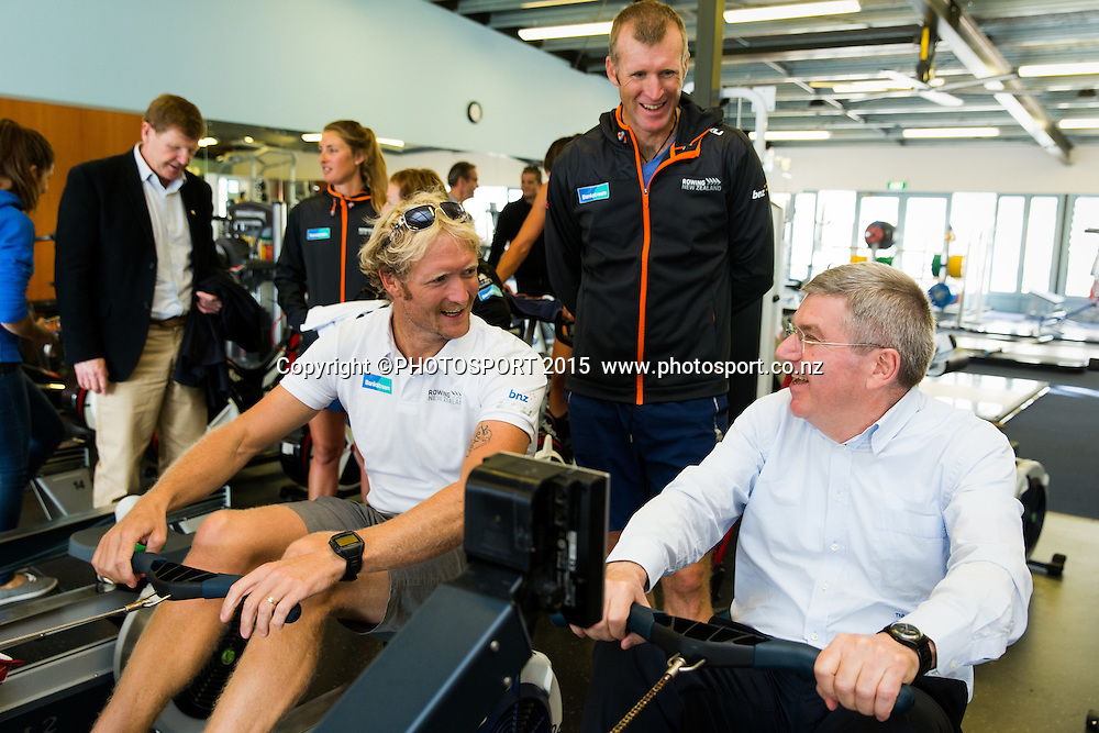 Eric Murray and Mahe Drysdale with IOC president Thomas Bach on an erg machine at the Rowing NZ Media Day, Lake Karapiro, Cambridge, New Zealand, Wednesday 6 May 2015. Photo: Stephen Barker/Photosport.co.nz