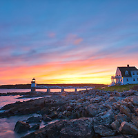 New England photography of Marshall Point Light with its iconic wooden walkway and the Marshall Point Lighthouse Museum. This beautiful New England lighthouse museum is located Port Clyde in Maine and marks the entrance to Port Clyde harbor.<br />