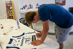 Luka Doncic signing jersey at press conference of Slovenian national team before Eurobasket 2017, on August 28, 2017 in Telemach, Ljubljana, Slovenia. Photo by Matic Klansek Velej / Sportida