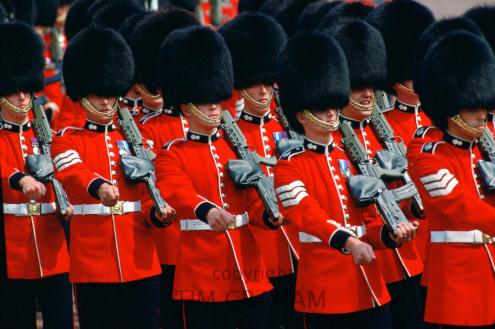 Grenadier Guards during a military parade in London.