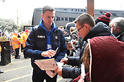 Jonny Evans (6) of West Bromwich Albion signing his autograph for fans on arrival at the Vitality Stadium before the Premier League match between Bournemouth and West Bromwich Albion at the Vitality Stadium, Bournemouth, England on 17 March 2018. Picture by Graham Hunt.