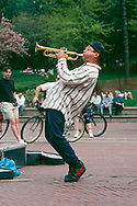 Trumpet player at Bethesda Terrace in Central Park, New York City, 1994.