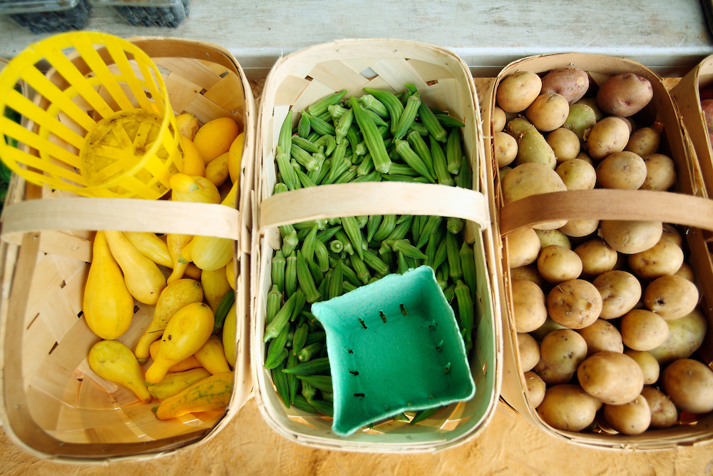 Squash, okra, and potatoes for sale at a roadside produce stand near Wilmington, NC