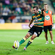 Stephen Myler of Northampton Saints kicks a penalty during the Aviva Premiership match at Franklin's Gardens, Northampton<br />