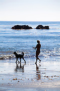 Girl Walking Her Dog On Beach