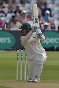 Brendan Taylor drives Graham Onions during the Specsavers County Champ Div 1 match between Nottinghamshire County Cricket Club and Durham County Cricket Club at Trent Bridge, West Bridgford, United Kingdom on 28 May 2016. Photo by Simon Trafford.