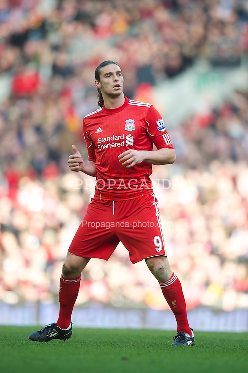 LIVERPOOL, ENGLAND - Sunday, March 6, 2011: Liverpool's Andy Carroll in action on his debut during the Premiership match against Manchester United at Anfield. (Photo by David Rawcliffe/Propaganda)