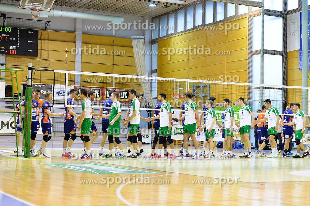 The Teams of ACH and Panvita Pomgrad during volleyball game between OK Panvita Pomgrad and ACH Volley in 2nd semifinal match of  Slovenian National Championship 2015, on April 5, 2015 in Murska Sobota, Slovenia. Photo by Mario Horvat / Sportida