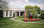 President Bill Clinton speaks with reporters behind the Oval Office about his discussions with Congressional leaders on the Kosovo situation April 28, 1999. The president reaffirmed his commitment to support NATO military actions in coming months.