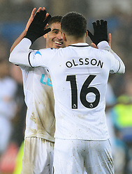 Kyle Naughton of Swansea City celebrates with Martin Olsson of Swansea City - Mandatory by-line: Alex James/JMP - 30/01/2018 - FOOTBALL - Liberty Stadium - Swansea, England - Swansea City v Arsenal - Premier League