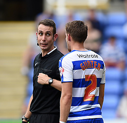 Referee David Coote talks to Chris Gunter of Reading - Mandatory by-line: Paul Knight/JMP - Mobile: 07966 386802 - 22/08/2015 -  FOOTBALL - Madejski Stadium - Reading, England -  Reading v MK Dons - Sky Bet Championship