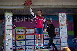 Alice Barnes (GBR) of Team GB takes over the purple jersey as the leader of the Points Classification after Stage 1b of the Healthy Ageing Tour - a 77.6 km road race, starting and finishing in Grijpskerk on April 5, 2017, in Groeningen, Netherlands.