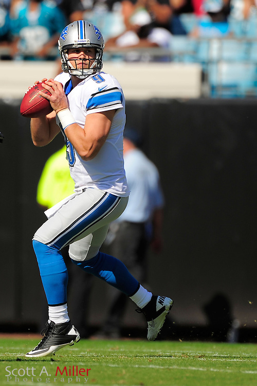 Detroit Lions quarterback Matthew Stafford (9) looks to throw during his team's 31-14 win over the Jacksonville Jaguars at EverBank Field on November 4, 2012 in Jacksonville, Florida. ..©2012 Scott A. Miller..