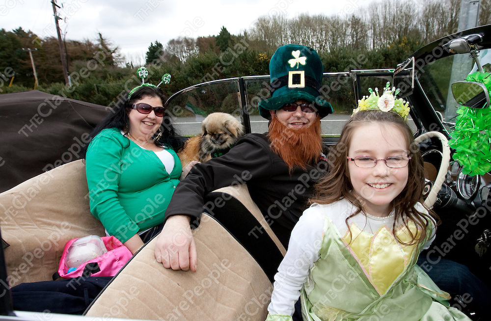 Catriona Wynn, Yoba the Dog, Brenden &amp; Daniel McCarthy pictured at the St Patrick Parade in Shannon Co. Clare.<br /> Picture Credit: Brian Gavin Press 22
