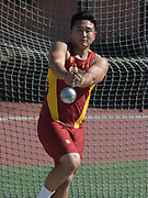 Nov 2, 2017; Los Angeles, CA, USA; Southern California Trojans hammer thrower Jason Kim during workout at Cromwell Field.