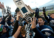 "Duchesne players celebrate their ""three-peat"" victory in the Utah High School 1A Football championship game between Duchesne and Rich in Pleasant Grove, Saturday, Nov. 10, 2012."