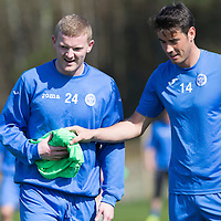 St Johnstone Training...24.04.15<br /> Brian Easton and Brian Graham pictured in training this morning at McDiarmid Park ahead of tomorrow's game at Dundee<br /> Picture by Graeme Hart.<br /> Copyright Perthshire Picture Agency<br /> Tel: 01738 623350  Mobile: 07990 594431