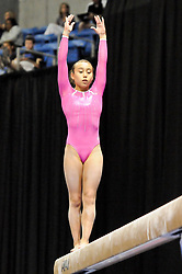 June 8, 2012 - St. Louis, Missouri, United States of America - KATELYN OHASHI of WOGA performs on the balance beam during day one of the 2012 Visa Championships, USA Gymnastic's national championships, Women's Junior Competition in St. Louis, MO (Credit Image: © Richard Ulreich/ZUMApress.com)