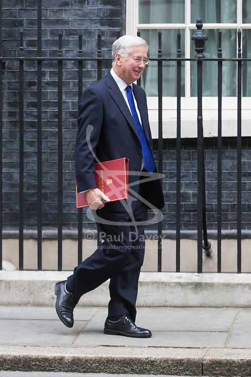 Downing Street, London, October 11th 2016. Government ministers leave the first post-conference cabinet meeting. PICTURED: Defence Secretary Michael Fallon