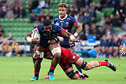MELBOURNE, AUSTRALIA - APRIL 06: Isi Naisarani of the Rebels is tackled at round 8 of The Super Rugby match between Melbourne Rebels and Sunwolves on April 06, 2019 at AAMI Park in VIC, Australia. (Photo by Speed Media/Icon Sportswire)
