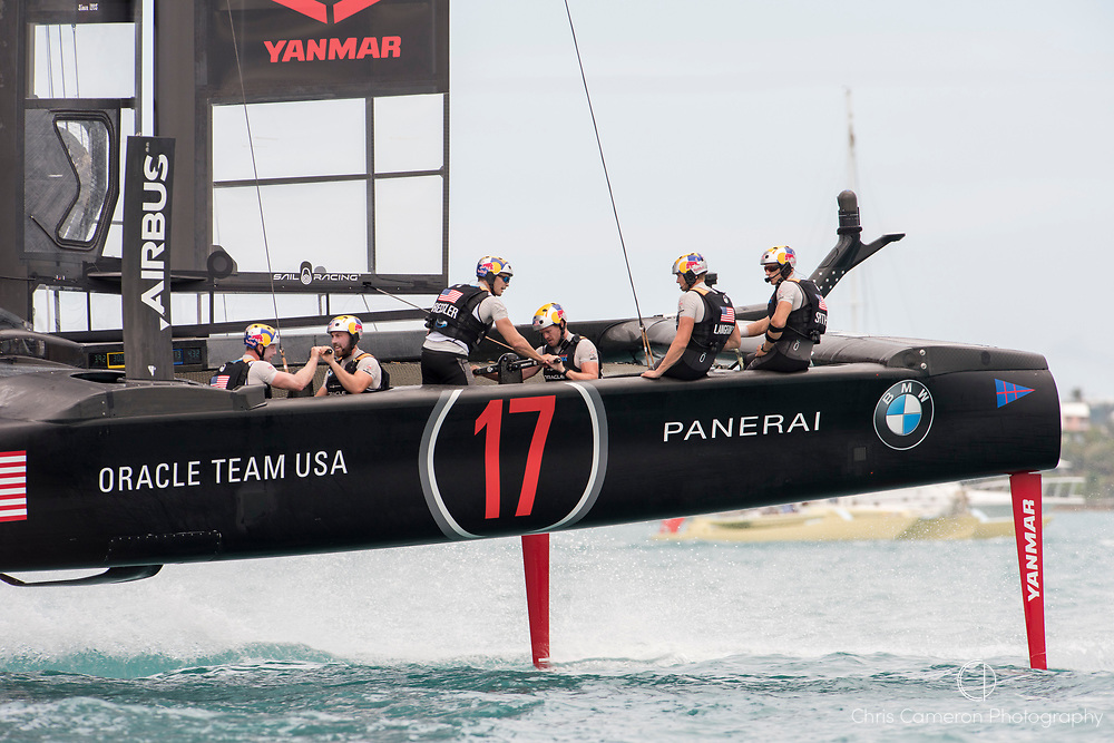 The Great Sound, Bermuda, 24th June 2017, Oracle Team USA beats Emirates Team New Zealand  in race six. Their first win of the regatta. Day three of racing in the America's Cup presented by louis Vuitton.