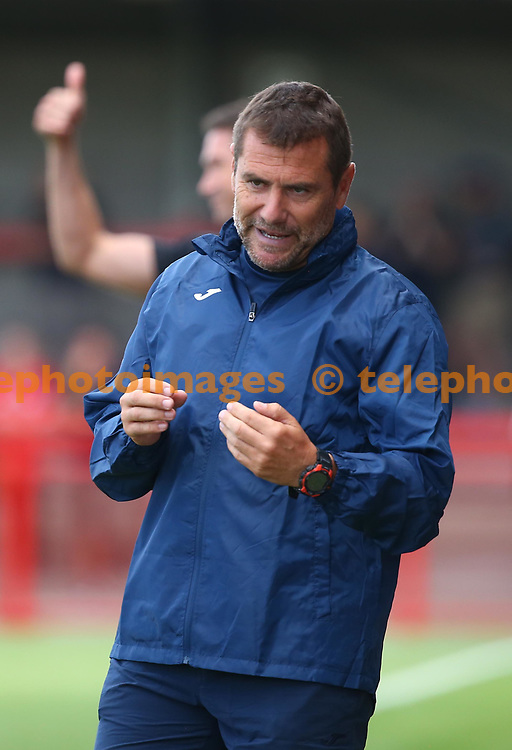KSV Roeselare Head Coach Jordi Condom during the pre season friendly between Crawley Town and KSV Roeselare at The Broadfield Stadium, Crawley , UK. 28 July 2018.