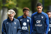 Antoine Griezmann, Raphael Varane during the training of the team of France before the FIFA World Cup qualifying football match between Bulgaria and France, on October 2, 2017 in Clairfontaine, France - Photo Benjamin Cremel / ProSportsImages / DPPI
