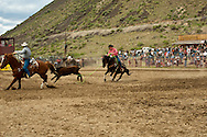 Team Roping, Gardiner Rodeo, Montana, brothers J.R. and Joe Winter, <br /> MODEL RELEASED, PROPERTY RELEASED