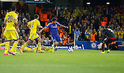 Diego Costa earns Chelsea's second penalty of the game during the Champions League match between Chelsea and Maccabi Tel Aviv at Stamford Bridge, London, England on 16 September 2015. Photo by Andy Walter.