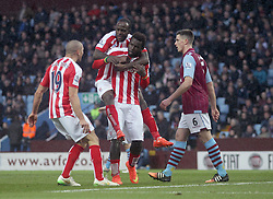 Stoke's Mame Biram Diouf, Victor Moses and Jonathan Walters celebrate - Photo mandatory by-line: Robbie Stephenson/JMP - Mobile: 07966 386802 - 21/02/2015 - SPORT - Football - Birmingham - Villa Park - Aston Villa v Stoke City - Barclays Premier League