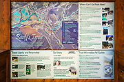 Interpretive signs at Bow Falls, Banff National Park, Alberta, Canada