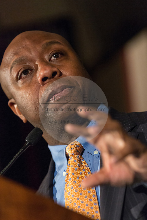 U.S. Senator Tim Scott address the Republican Society Patriot Dinner at the Citadel Military College February 22, 2015 in Charleston, South Carolina. Scott and Donald Trump were honored at the annual event.
