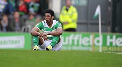 Yeovil's Shaun Jeffers looks down after missing a chance to take the lead.  - Mandatory byline: Alex Davidson/JMP - 07966 386802 - 10/10/2015 - FOOTBALL - Huish Park - Yeovil, England - Yeovil v Dagenham - Sky Bet League Two