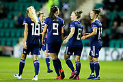 Scotland players celebrate with Kim Little (#8) of Scotland after she scores her fourth goal of the evening during the Women's Euro Qualifiers match between Scotland Women and Cyprus Women at Easter Road, Edinburgh, Scotland on 30 August 2019.