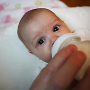 A ten week old baby girl is bottle fed by her father. Photo Tim Clayton