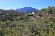Mountain landscape abandoned farmhouse near Xalo or Jalon, Marina Alta, Alicante province, Spain