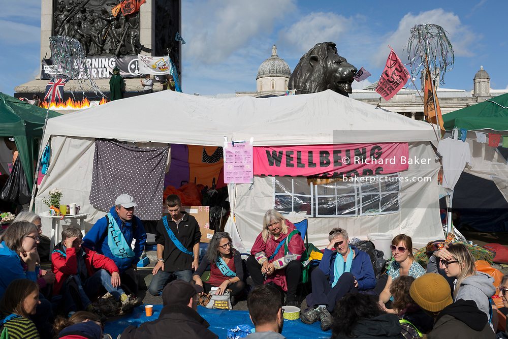Environmental activists protest about Climate Change during an occupation of Trafalgar Square in central London, the third day of a two-week prolonged worldwide protest by members of Extinction Rebellion, on 9th October 2019, in London, England.