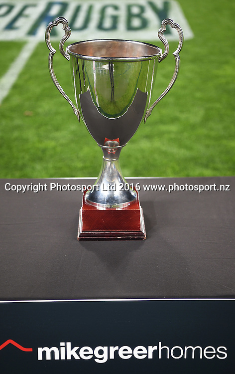 Super 12 trophy. Blues v Sharks Super Rugby match at Eden Park in Auckland, New Zealand. Saturday 16 April 2016. Copyright Photo: Andrew Cornaga / www.Photosport.nz