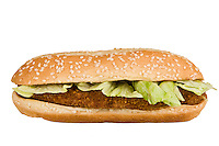 Close up of a Chicken Sandwich, white isolated.