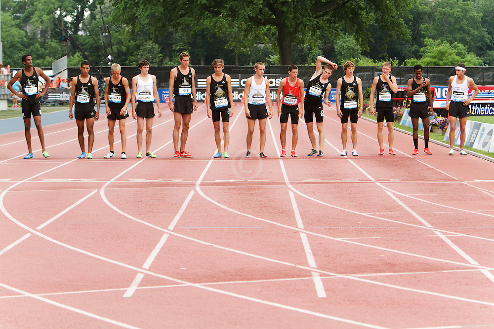 Samsung Diamond League adidas Grand Prix track & field; Dream Mile, Boys, lined up at start line,