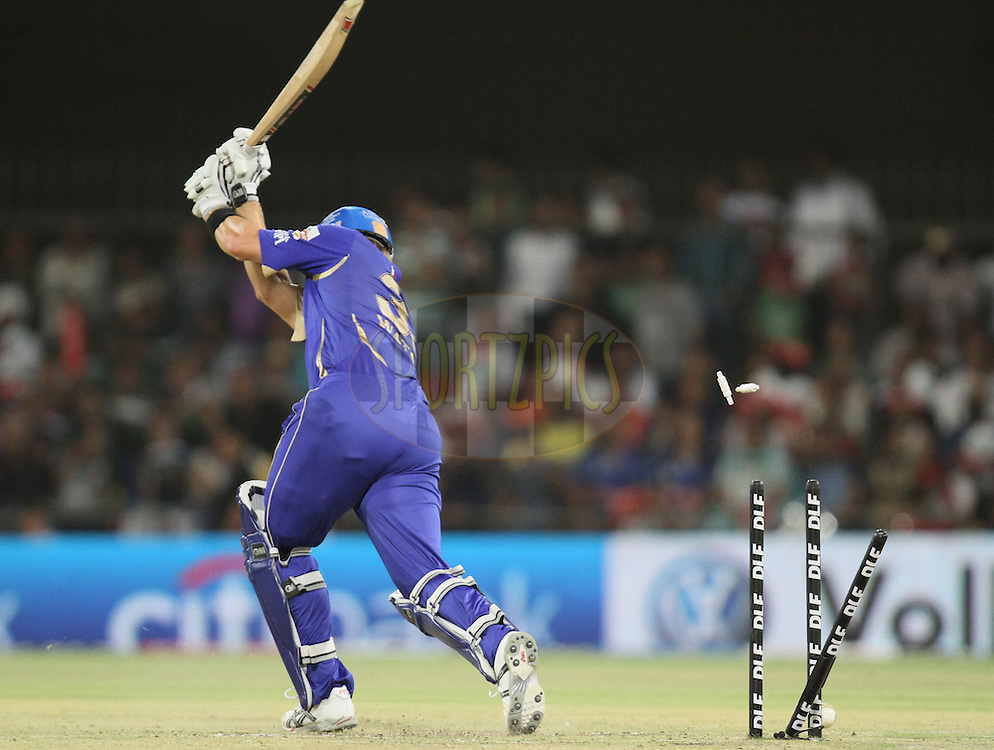 Shane Watson of Rajasthan Royals  being dismissed during match 61 of the Indian Premier League ( IPL ) Season 4 between the Kochi Tuskers Kerala and the Rajasthan Royals held at the Holkar Stadium in Indore, Madhya Pradesh, India on the 15th May  2011...Photo by Parth Sanyal/BCCI/SPORTZPICS.