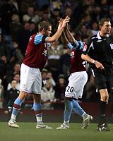 Photo: Mark Stephenson/Sportsbeat Images.<br /> Aston Villa v Tottenham Hotspur. The FA Barclays Premiership. 01/01/2008.Villa's Olof Mellberg celebrates his goal with team mate Nigel Reo-Coker