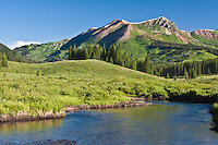 East River below 12519 ft. Mount Bellview of the Elk Mountains near Gothic, Colorado.