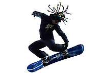 one  young snowboarder man in silhouette white background