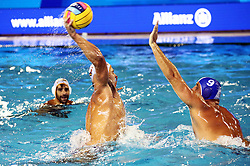 July 24, 2018 - Barcelona, Spain - Konstantinos Mourikis (Greece) and Alberto Munarriz (Spain) during the match between Spain and Greece, corresponding to the women group stage of the European Water Polo Championship, on 19th July, 2018, in Barcelona, Spain. (Credit Image: © Joan Valls/NurPhoto via ZUMA Press)