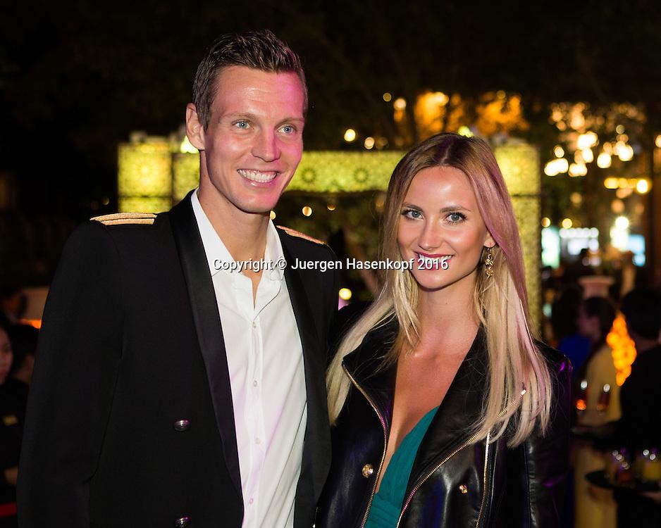 Dubai ATP Players Party,Tomas Berdych(CZE) und Ehefrau Ester S&aacute;torov&aacute; ,privat,<br /> <br /> Tennis - Dubai Duty Free Tennis Championships - ATP -   - Dubai -  - United Arab Emirates  - 23 February 2016. <br /> &copy; Juergen Hasenkopf