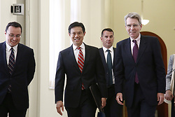 July 20, 2017 - Athens, Greece - US Deputy Assistant Secretary for European and Eurasian Affairs  Hoyt Yee (C) and American Ambassador in Athens Geoffrey Ross Pyatt (R ) at the Greek Parliament in Athens on July 20, 2017  (Credit Image: © Panayotis Tzamaros/NurPhoto via ZUMA Press)